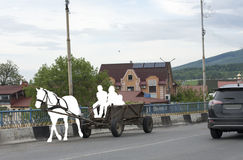 Siluetta di un cavallo con un carretto Fotografia Stock