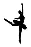 Siluetta di un danzatore della ballerina che fa un balletto immagini stock