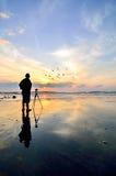 Siluetta di un fotografo che guarda alla volata degli uccelli Fotografia Stock Libera da Diritti