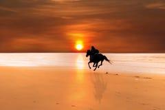 Siluetta di un galoppare del cavaliere e del cavallo Immagini Stock Libere da Diritti