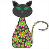 Siluetta di un gatto con i fiori gialli luminosi sopra  Fotografie Stock Libere da Diritti