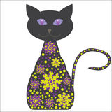 Siluetta di un gatto con i fiori su un backgr bianco Fotografia Stock Libera da Diritti