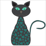 Siluetta di un gatto con le immagini graziose su un briciolo Fotografie Stock