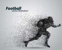 Siluetta di un giocatore di football americano dalla particella rugby Calciatore americano Immagine Stock