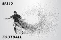 Siluetta di un giocatore di football americano dalle particelle Il giocatore consiste di piccoli cerchi Illustrazione di vettore Immagini Stock