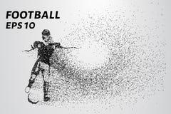 Siluetta di un giocatore di football americano dalle particelle Il giocatore consiste di piccoli cerchi Illustrazione di vettore Immagini Stock Libere da Diritti