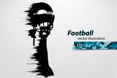 Siluetta di un giocatore di football americano rugby Calciatore americano Illustrazione di vettore Fotografia Stock Libera da Diritti