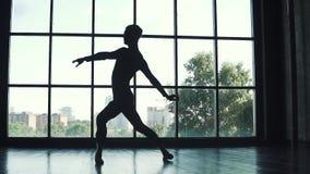 Siluetta di un maschio del ballerino di balletto giovane che balla balletto classico sui precedenti di grande finestra Movimento  archivi video