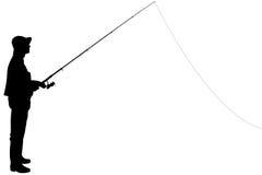 Siluetta di un pescatore che tiene una canna da pesca fotografia stock