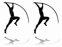 Siluetta di un saltatore di palo, disegno di vettore Immagini Stock