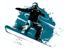 Siluetta di un salto dello snowboarder isolata Illustrazione illustrazione di stock
