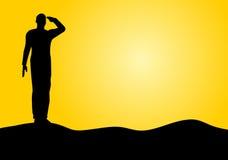 Siluetta di un saluto del soldato dell'esercito Fotografia Stock Libera da Diritti