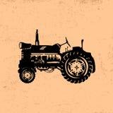 Siluetta di un trattore d'annata Fronte delle donne disegnate a mano di illustration illustrazione vettoriale