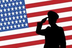 Siluetta di un ufficiale militare di saluto Fotografia Stock