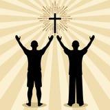 Siluetta di un uomo girato a Dio con la preghiera ed il culto royalty illustrazione gratis