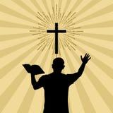 Siluetta di un uomo girato a Dio con la preghiera ed il culto illustrazione di stock