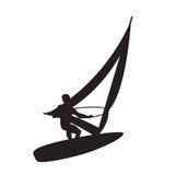 Siluetta di un windsurfer Immagini Stock