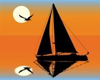 Siluetta di un yacht Fotografia Stock