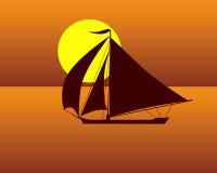 Siluetta di una barca della tartaruga di mare Fotografia Stock Libera da Diritti