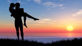 Siluetta di una coppia amorosa Immagine Stock Libera da Diritti