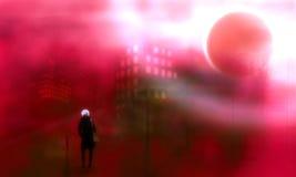 Siluetta di una donna che cammina alla notte nella città Fotografia Stock