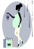 Siluetta di una donna incinta alla moda Immagine Stock