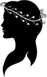 Siluetta di una donna in una corona Fotografie Stock Libere da Diritti