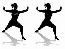 Siluetta di una forma fisica di pratica della donna Immagine Stock