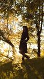 Siluetta di una giovane donna che sale sulla collina al tramonto, sulla figura ragazza nel paesaggio di autunno in un vestito, su immagine stock libera da diritti