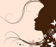 Siluetta di una giovane donna con capelli lunghi Immagini Stock Libere da Diritti