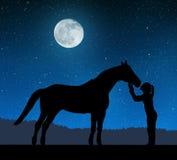 Siluetta di una ragazza che dà un cavallo di bacio Fotografia Stock