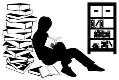 Siluetta di una ragazza che legge un libro illustrazione di stock