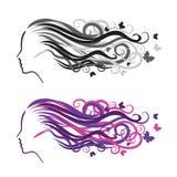 Siluetta di una ragazza nel profilo Logo per i saloni di bellezza illustrazione vettoriale