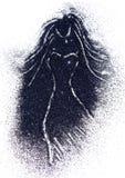 Siluetta di una ragazza nel vestito di scintillio nero su fondo bianco Immagine Stock Libera da Diritti