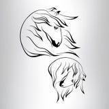 Siluetta di una testa del cavallo. illustrazione di vettore Fotografia Stock