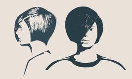 Siluetta di una testa femminile Profilo del fronte e vista frontali Immagini Stock
