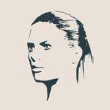 Siluetta di una testa femminile Vista di profilo del fronte Fotografia Stock Libera da Diritti