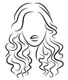 Siluetta di una testa di una signora dolce Una ragazza mostra un'acconciatura di una donna su capelli medi e lunghi Adatto a logo royalty illustrazione gratis