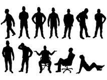 Siluetta di varia gente in varie posizioni Fotografia Stock