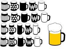 Siluetta di vetro di birra Immagini Stock Libere da Diritti