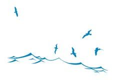 Siluetta di vettore degli uccelli di mare Fotografia Stock Libera da Diritti