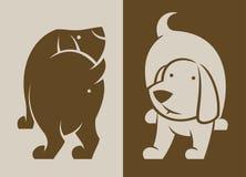 Siluetta di vettore dei caratteri del cane indietro e parte anteriore illustrazione di stock