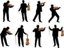Siluetta di vettore del giocatore del violino Fotografia Stock
