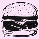 siluetta di vettore dell'hamburger Fotografia Stock
