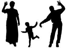 Siluetta di vettore della famiglia Immagine Stock Libera da Diritti