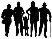 Siluetta di vettore della famiglia illustrazione di stock