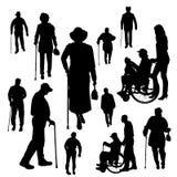 Siluetta di vettore della gente anziana Fotografia Stock