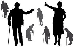 Siluetta di vettore della gente anziana Fotografie Stock Libere da Diritti