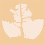 Siluetta di vettore di un albero con il sole illustrazione di stock