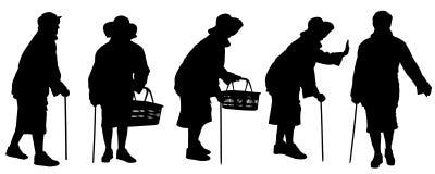 Siluetta di vettore di una donna anziana Fotografia Stock Libera da Diritti